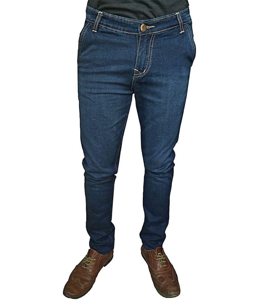 Oiin Blue Cotton Blend Slim Fit Jeans For Men