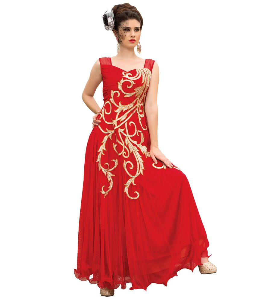 Stylemania Red Soft Net Wedding Gown
