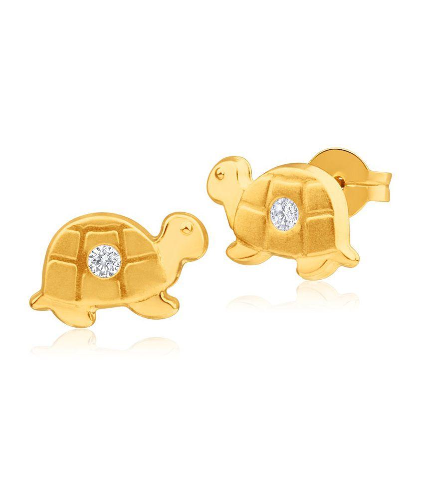 Aiza Certified Real Diamond Hallmarked Turtle Gold Earrings