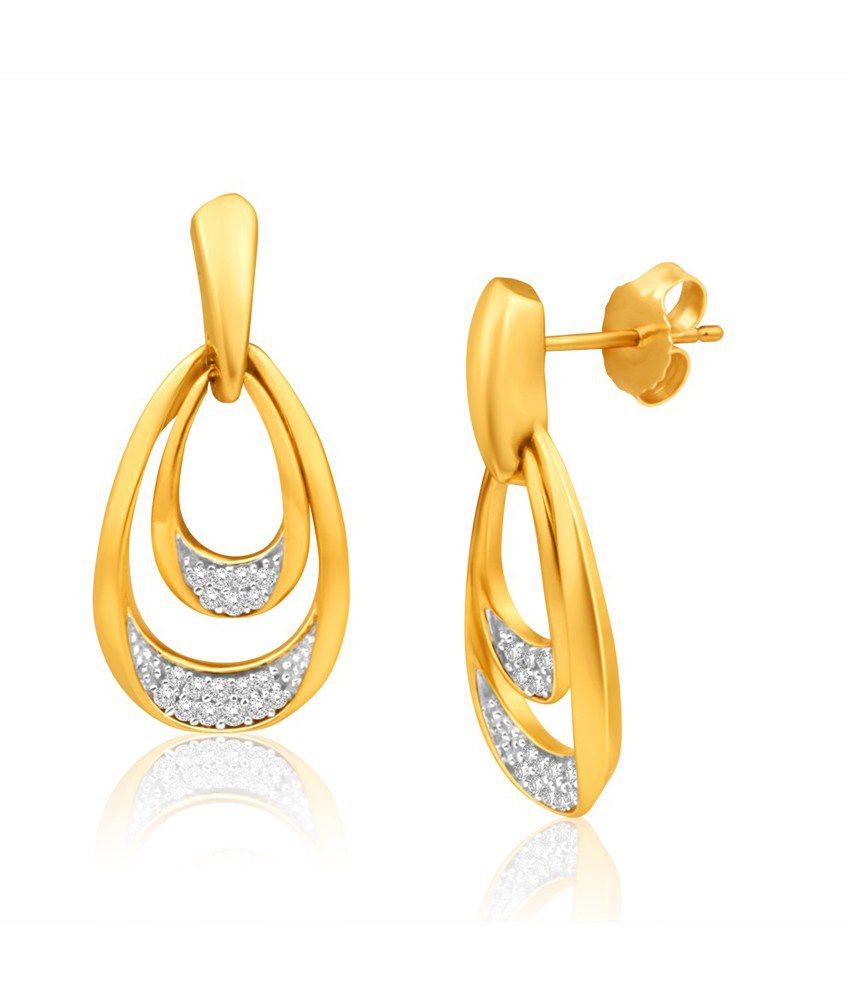 Aiza Certified Real Diamond Hallmarked Rhodium Polished Dangler Gold Earrings