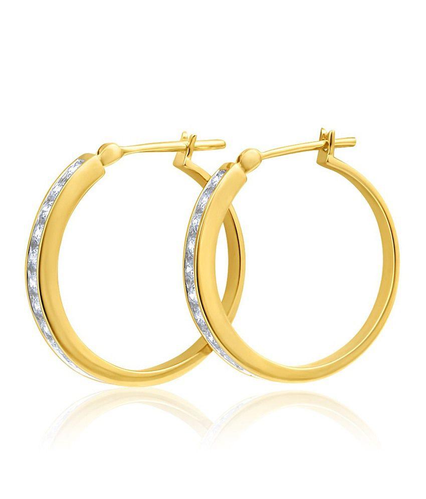 Aiza Certified Real Diamond Hallmarked Stunning Round Gold Earrings