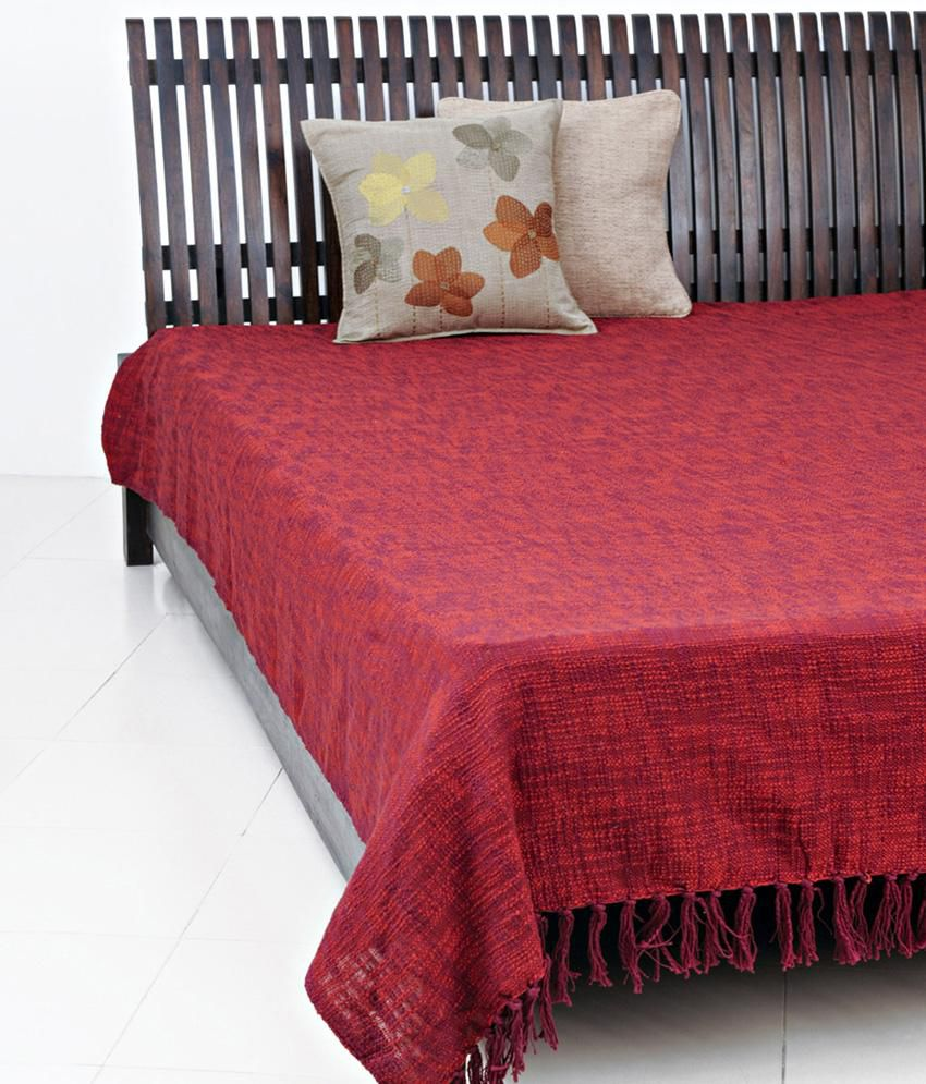 fabindia red plain cotton woven chaman bed cover single buy