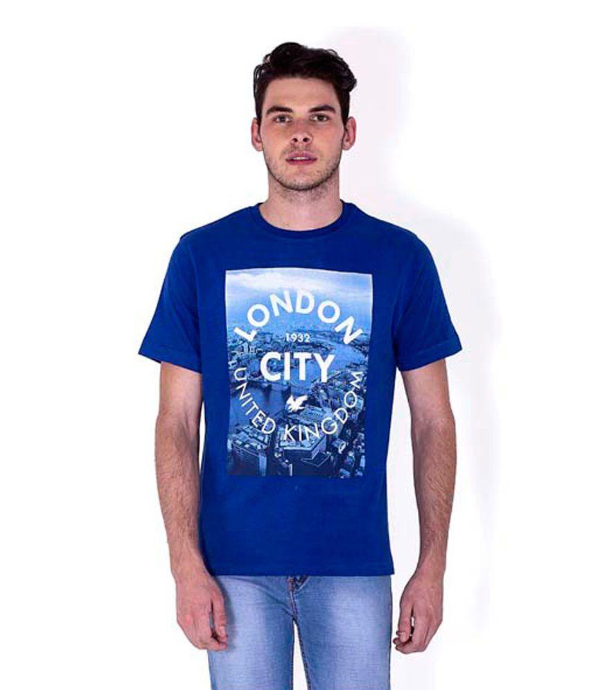 Sera Blue Cotton Printed Half Sleeves Round Neck T-Shirt For Men