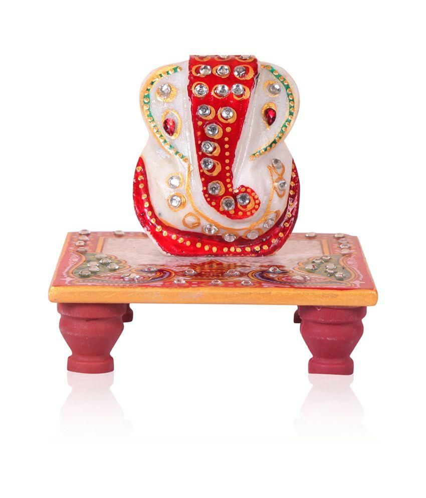 Rajwada Arts Ganesh Ji On Marble Square Chowki With Peacock Design