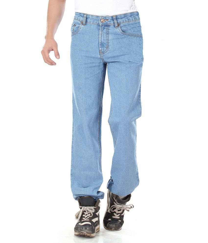 Dragaon Jeans Blue Cotton Blend Regular Fit Jeans For Men