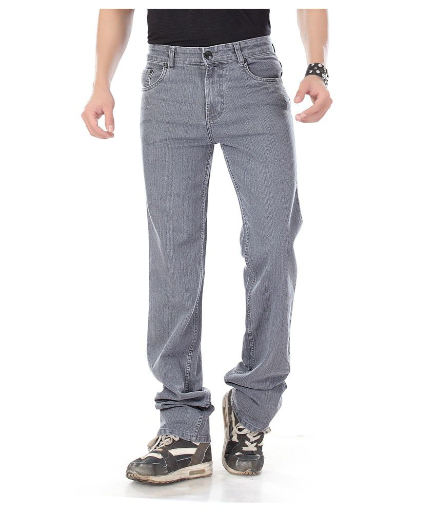 Dragaon Jeans Gray Cotton Blend Regular Fit Jeans For Men