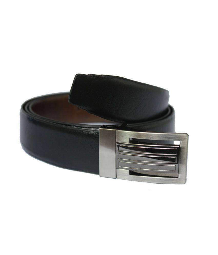 Rags Black Leather Formal Belt for Men