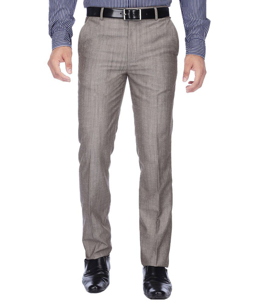 Stop By Shoppers Stop Light Gray Solid Formal Trouser