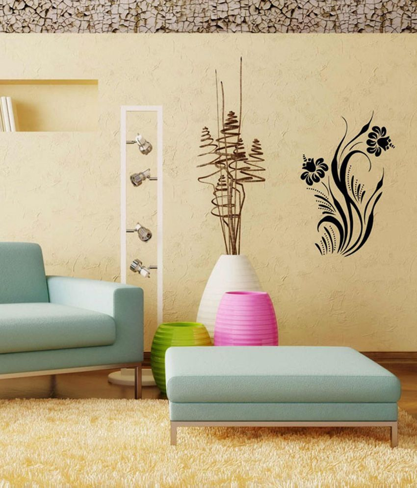Studio Briana Black Designer Flower Swirl Wall Decal Wall Sticker ...