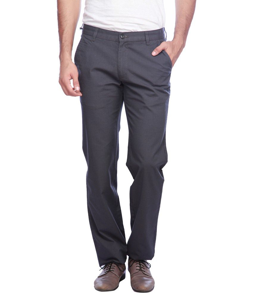 Vettorio Fratini By Shoppers Stop Gray Solid Casual Trouser