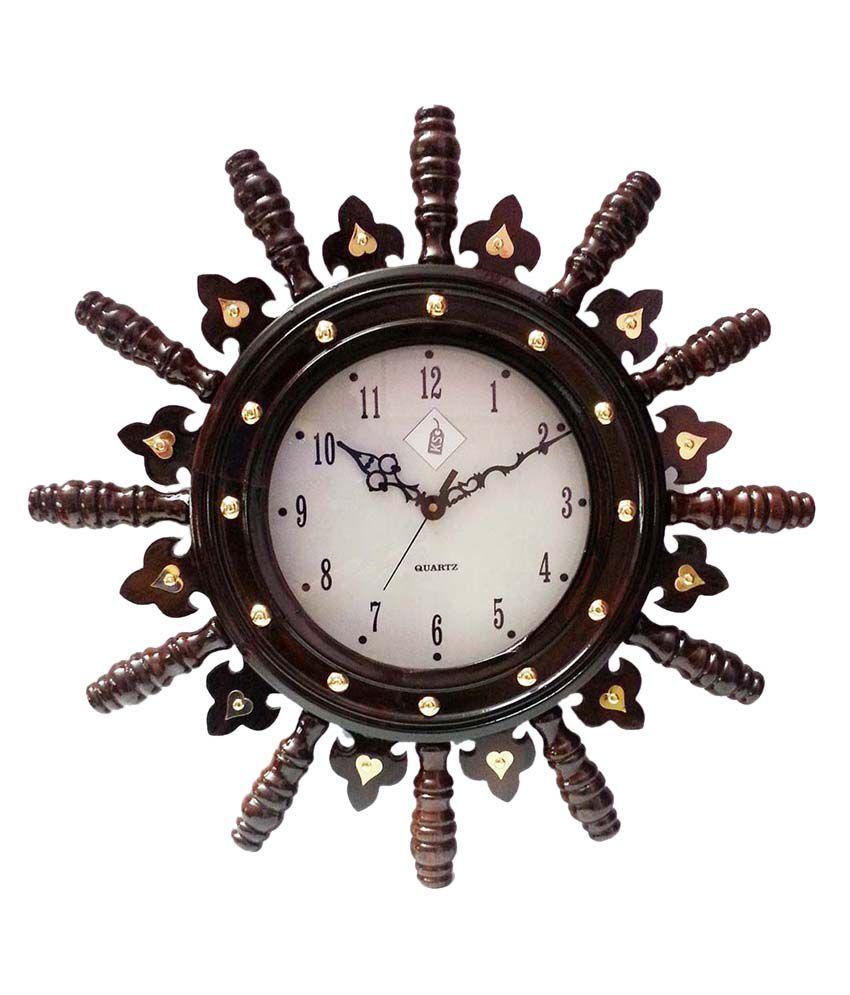 Keralashopee Handicraft Rosewood wheel Clock Medium Keralashopee