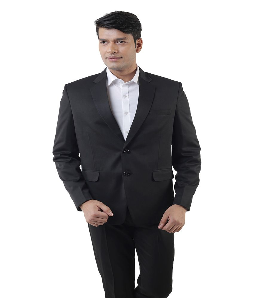Lee Marc Black Poly Blend Formal Suit