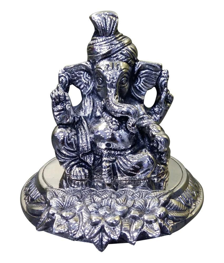 Red Dragon White Metal Pagadi Ganesh