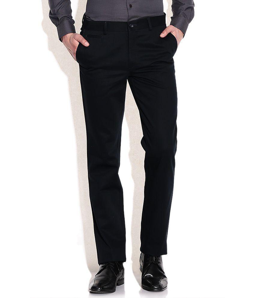 SDF Black Men's Formal Plain Trouser