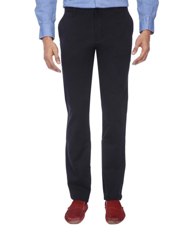 Vettorio Fratini By Shoppers Stop Black Cotton Trousers