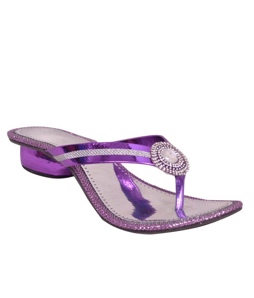 Ajay Footwear Perpal & Silver Medium Heel Daily Wear Slip-On