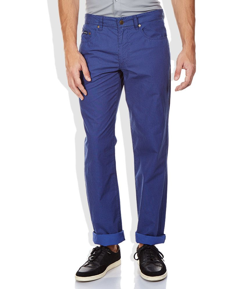 Calvin Klein Jeans Blue Slim Fit Casual Trousers