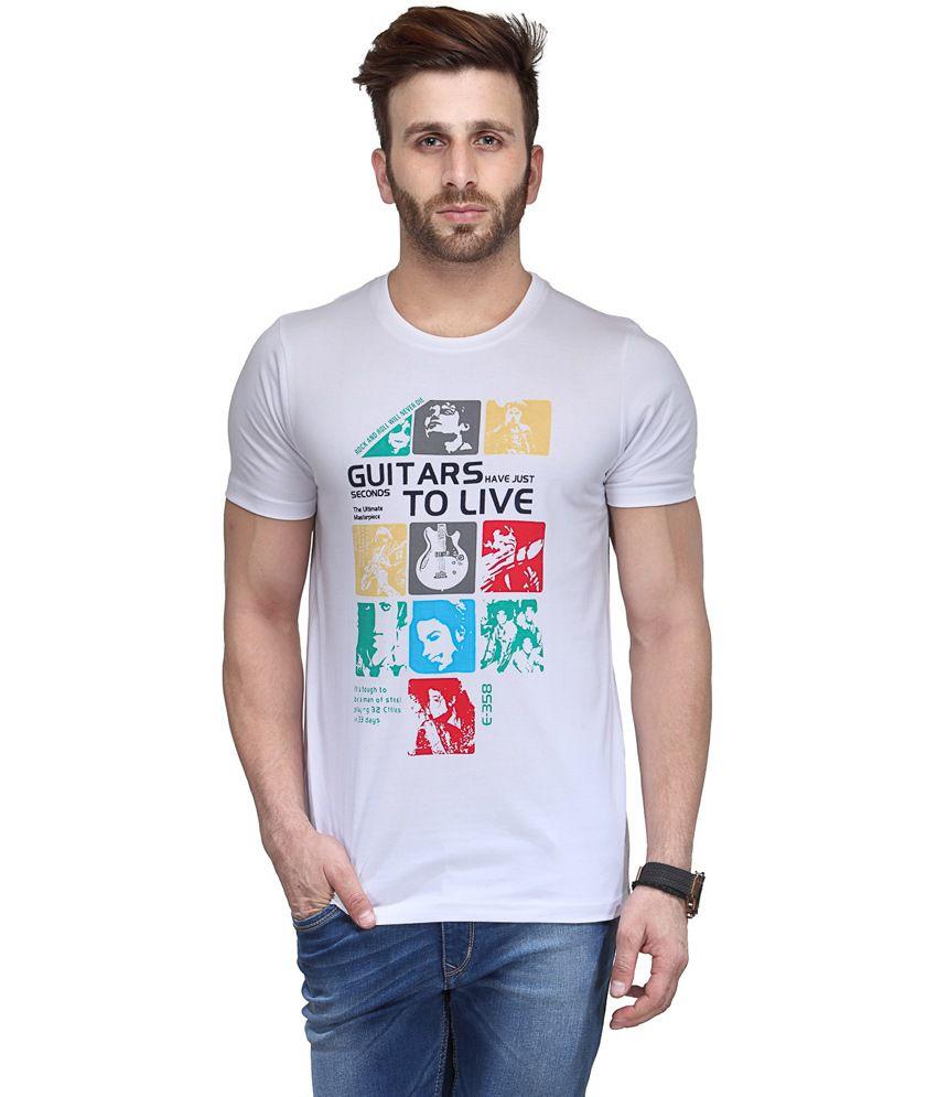 Koolpals White Cotton Round Neck Music & Bands Half Sleeves T-Shirt