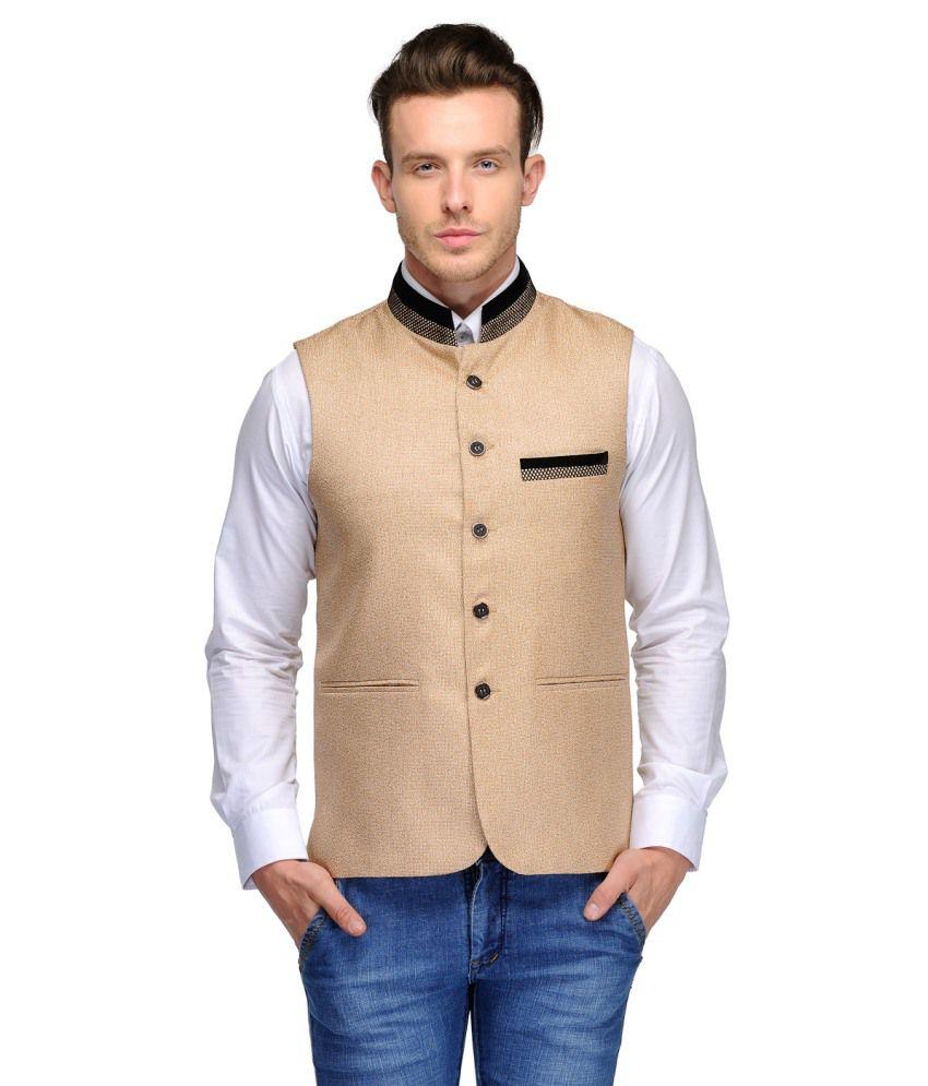 Platinum Studio Beige Cotton Blend Waistcoats