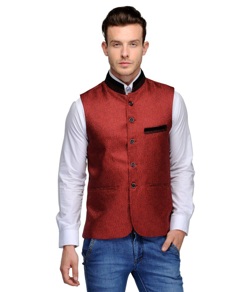 Platinum Studio Maroon Cotton Blend Waistcoats