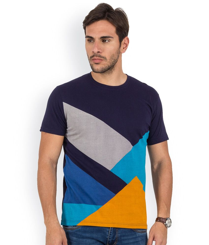 Blu Mnky Navy Printed Cotton Round Neck T-Shirt