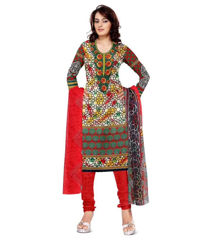 Dnveens Multicolor Cotton Printed Dress Material