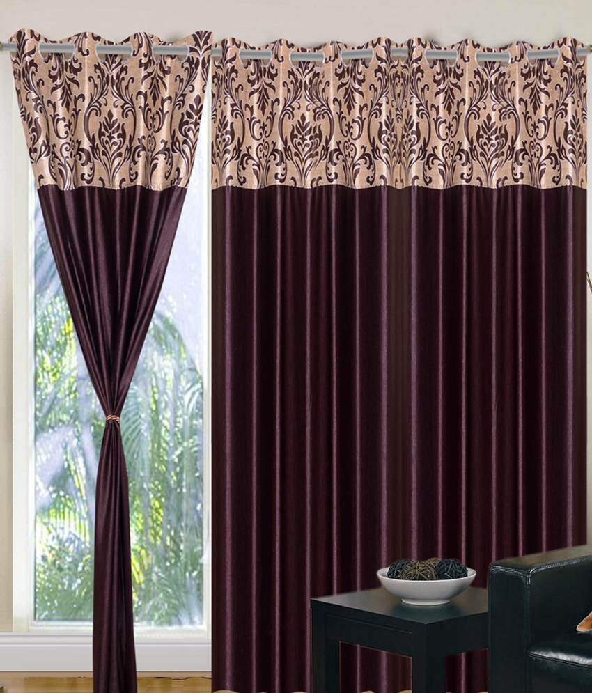 Home sazz coffee brown valance set of 4 fancy door curtains 7 home sazz coffee brown valance set of 4 fancy door curtains 7 feet solid eventelaan Gallery