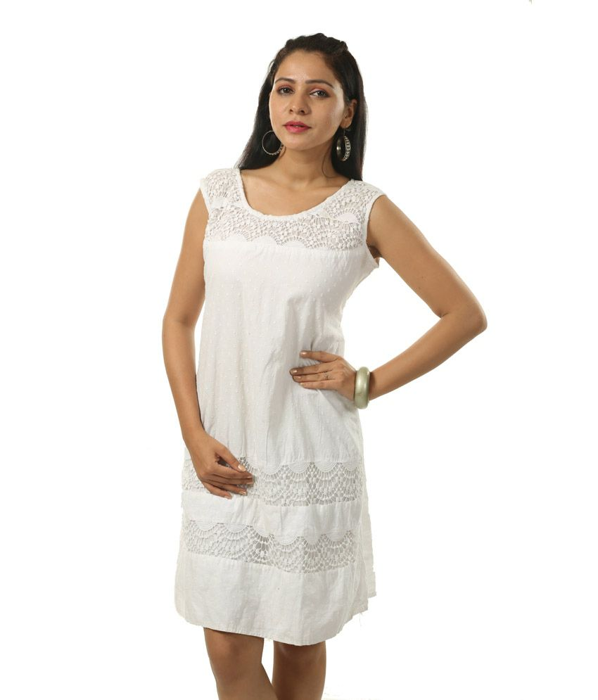 d769ddb4a8ad India Inc White Cotton Lace Dress - Buy India Inc White Cotton Lace Dress  Online at Best Prices in India on Snapdeal
