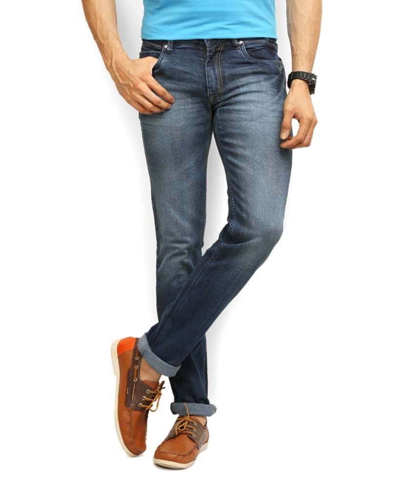 Police Blue Cotton Slim Fit Jeans