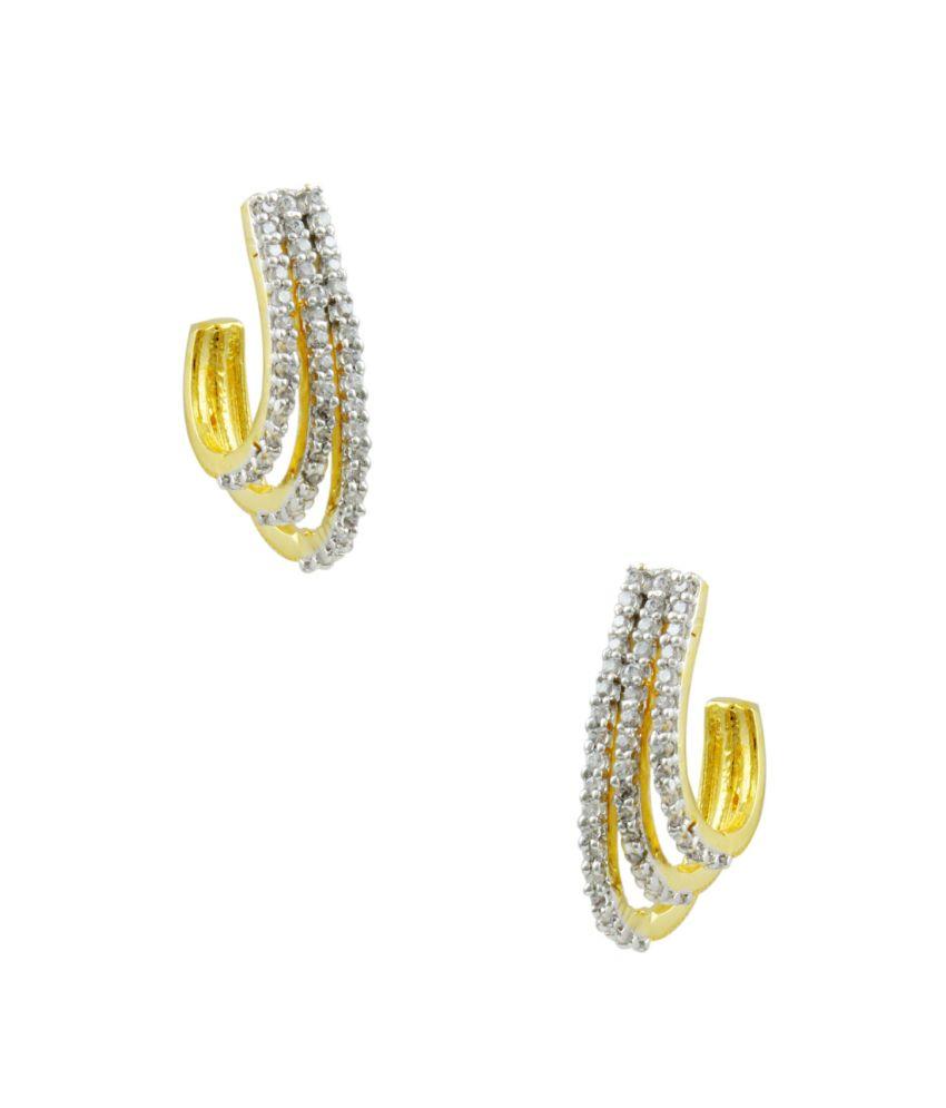 Orniza CZ Diamonds Artistic Hoop Style Earrings