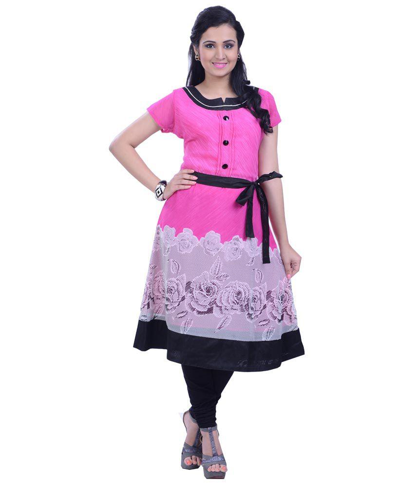 Vibhuti Pink & Black Viscose Kurti