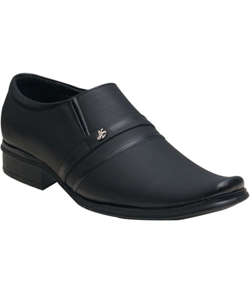 00ra Black Slip On Artificial Leather Formal Shoes