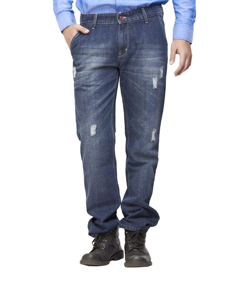 Defossile Blue Cotton Regular Fit Jeans