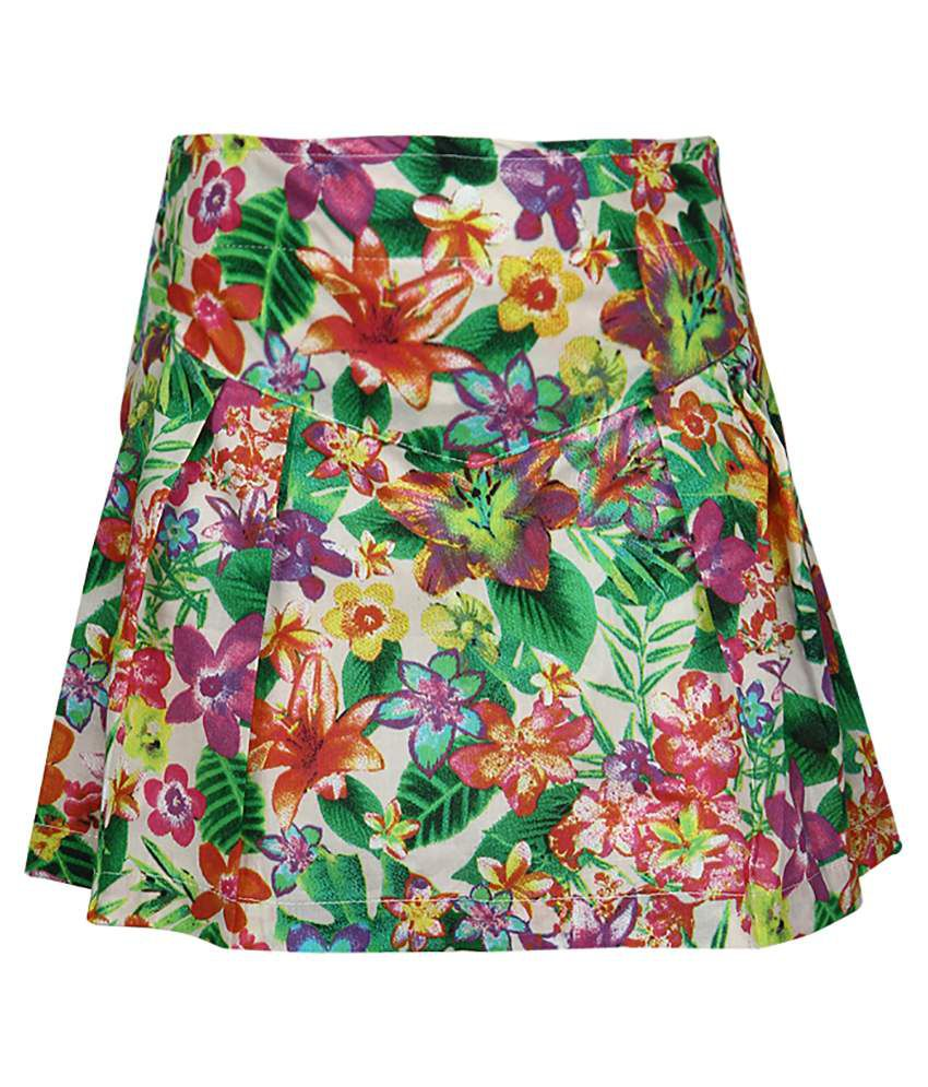 Dreamszone Green Printed Skirts For Kids