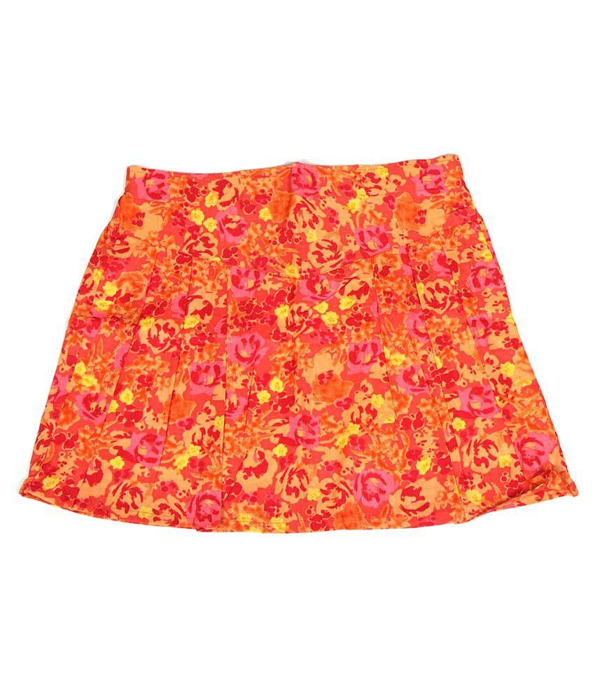 Dreamszone Orange & Pink Printed Skirts For Kids