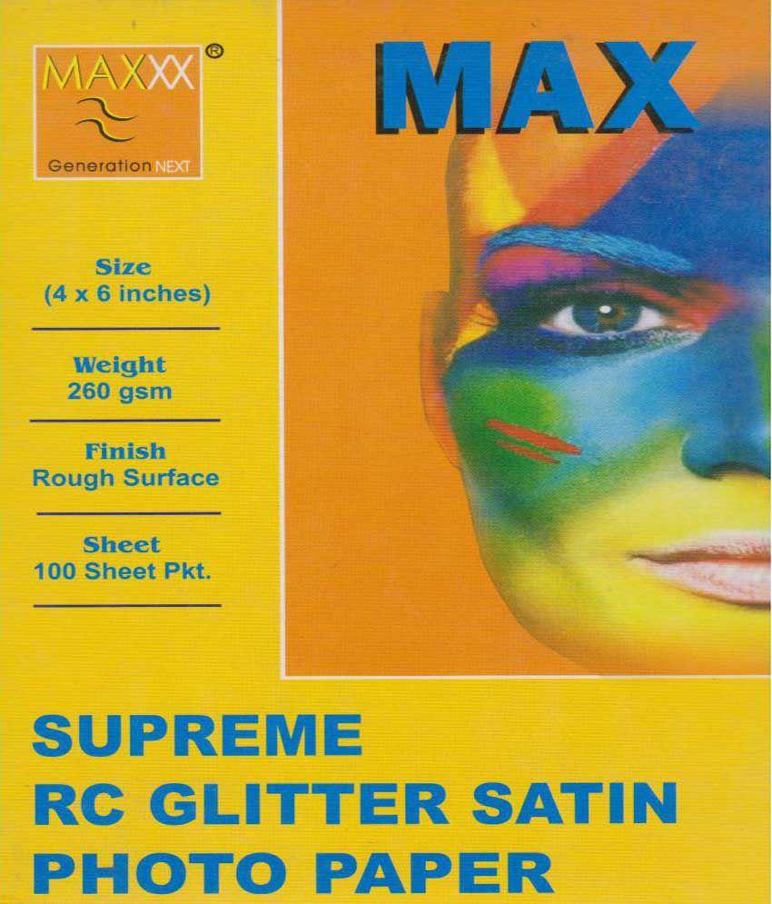 Max Pro Shupreme Rc Glitter Stain Photo Paper - 4X6 - 100 Sheets