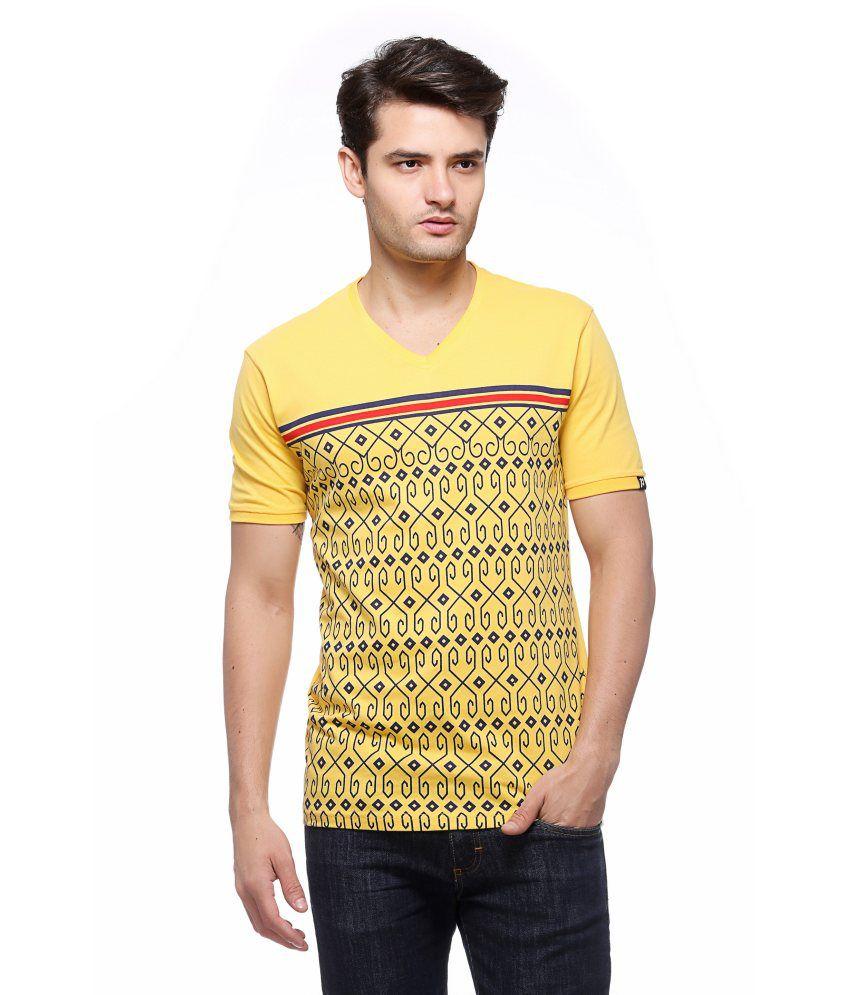 Profy V Neck Men's Cotton Yellow T Shirt