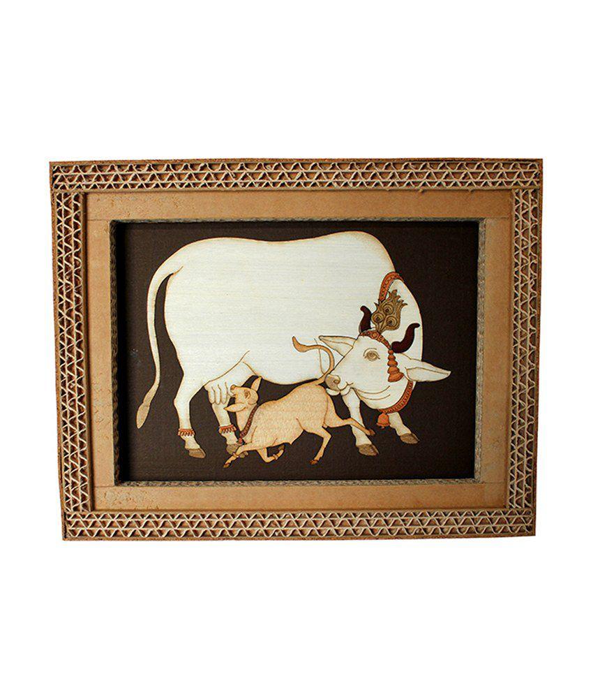 Sylvn Studio Brown Wooden Painting - Cow