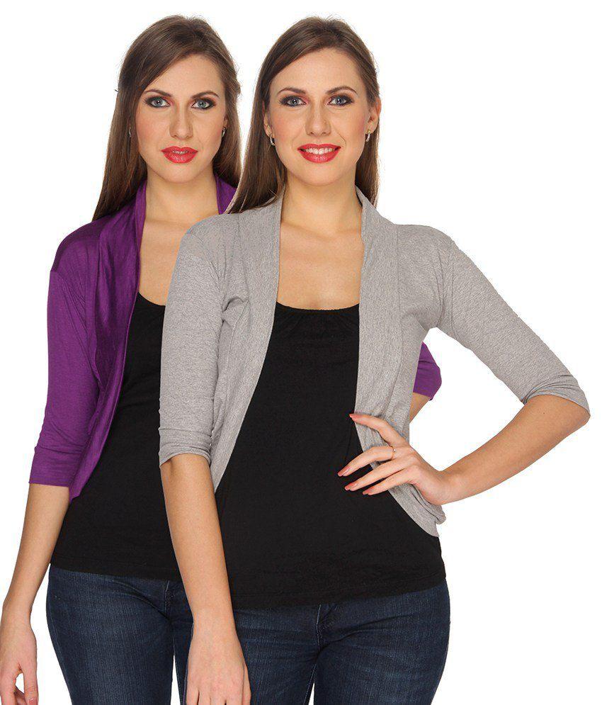 Ten On Ten Purple Cotton Lapel Collar Corporate Wear Shrugs