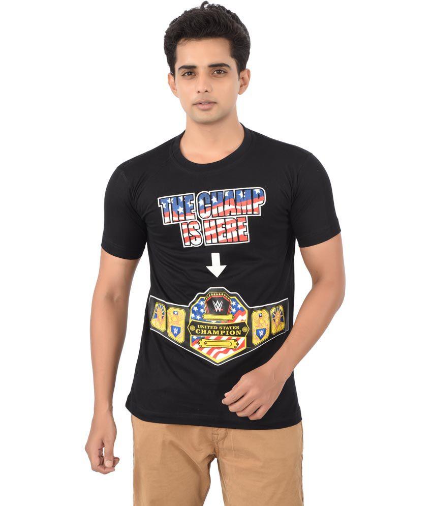 Black t shirt on flipkart - Attitude John Cena Champ Is Here Black Cotton Neck Half Sleeves T Shirts