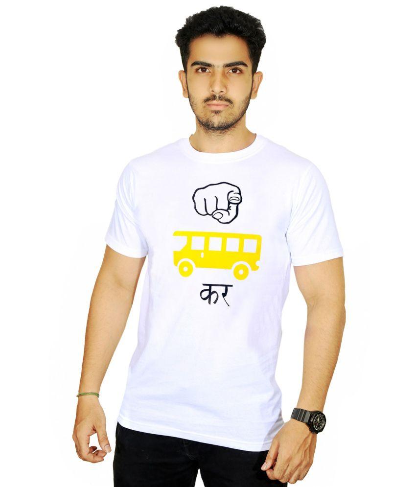 Ekvi White Cotton T-Shirt For Men