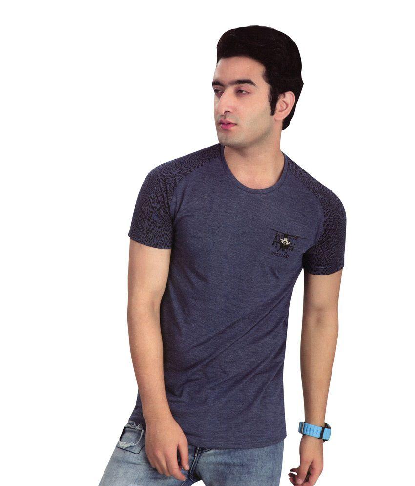 H2 V Neck Navy Blue Slim Fit Printed T-Shirt