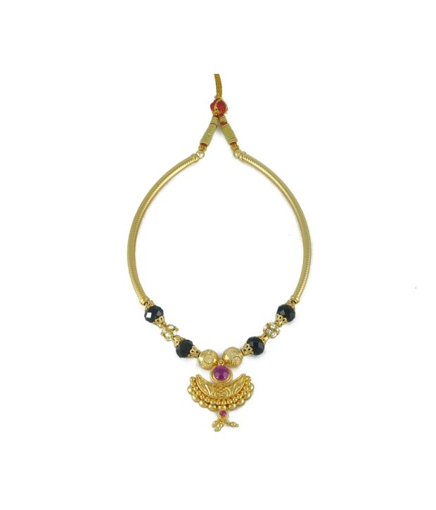 Womens Trendz Crystal Yellow Gold Plated Alloy Kolhapuri Necklace
