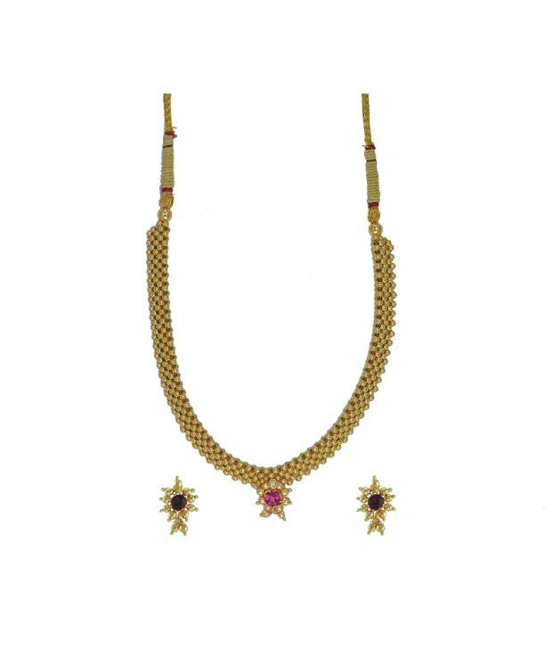 Womens Trendz Kolhapuri Jewellery Alloy Jewel Set (Gold)
