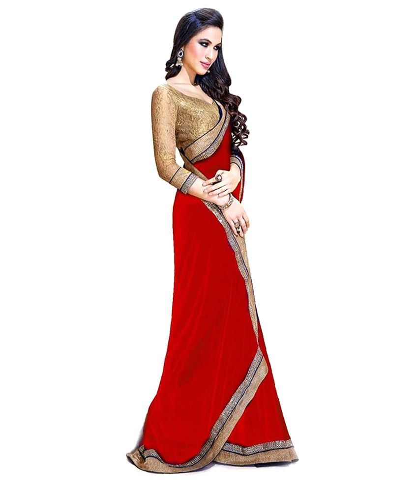 Arti Fashion Red With Golden Border Georgette Saree - Buy ...