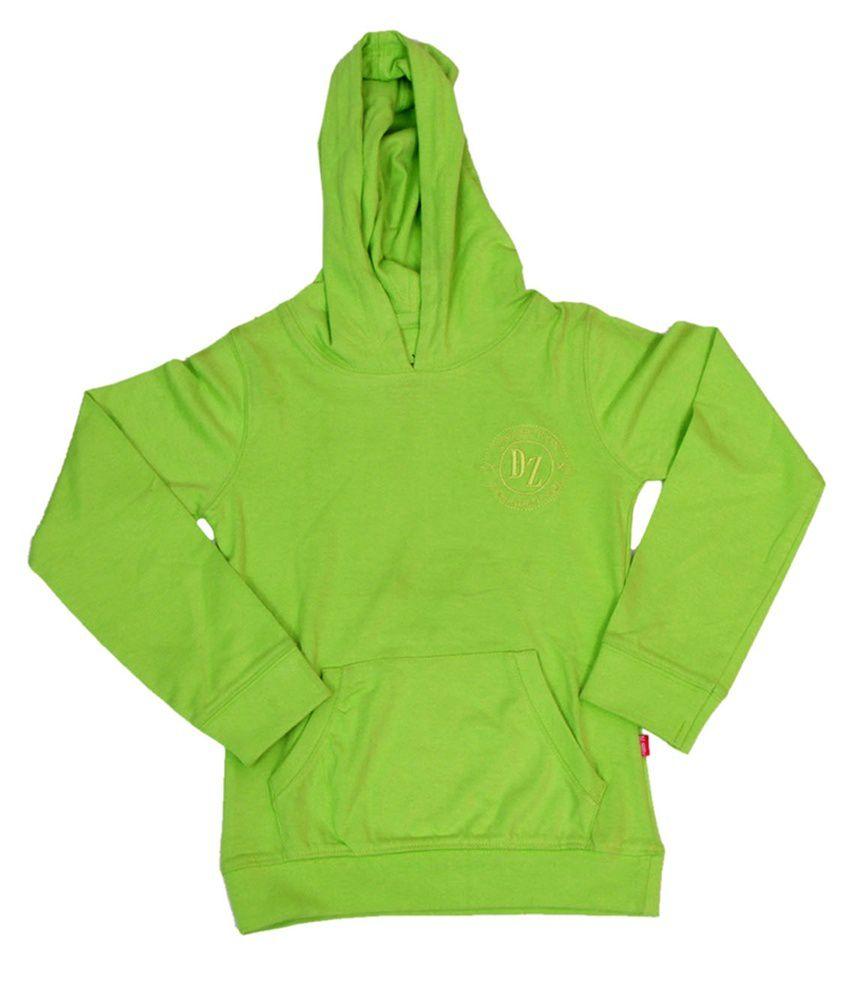 Dreamszone Green Cotton Hooded Sweatshirts