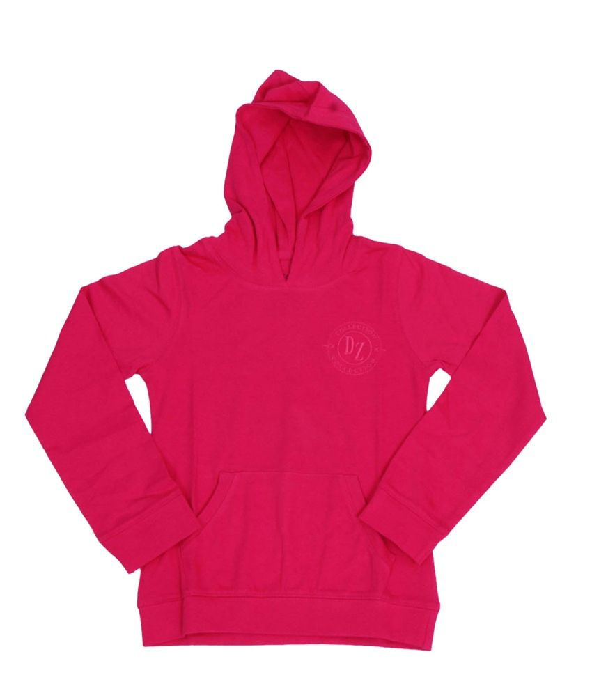 Dreamszone Pink Cotton Hooded Sweatshirts
