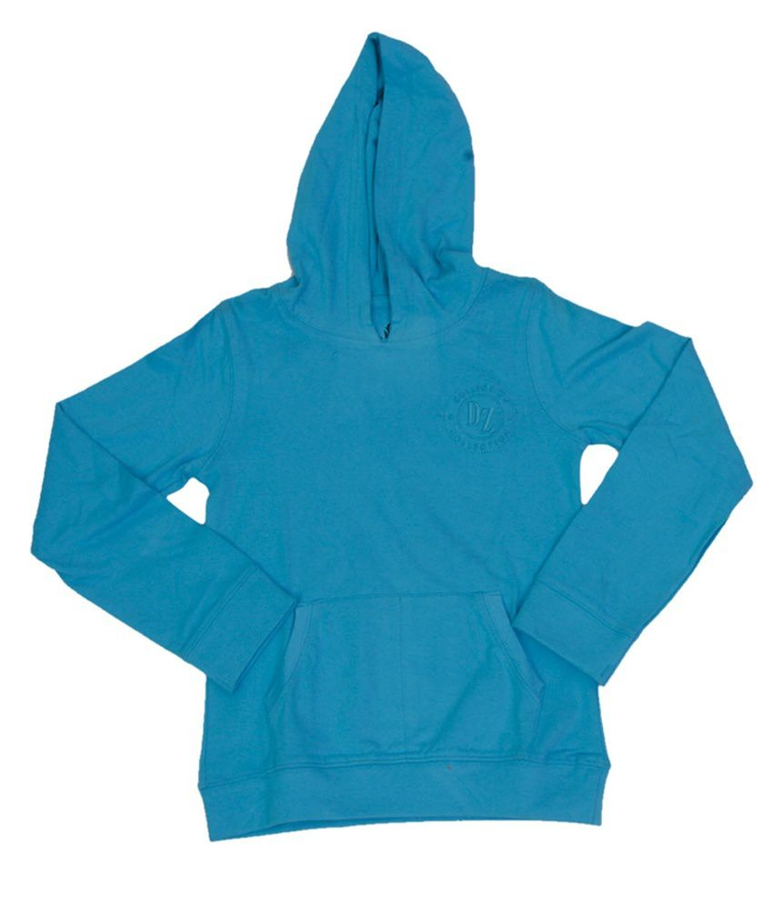 Dreamszone Turquoise Cotton Hooded Sweatshirts