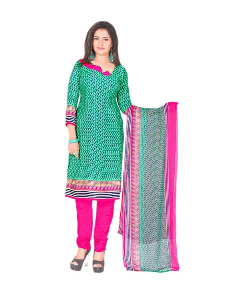 Khushali Green Art Crepe Printed Dress Material with Dupatta