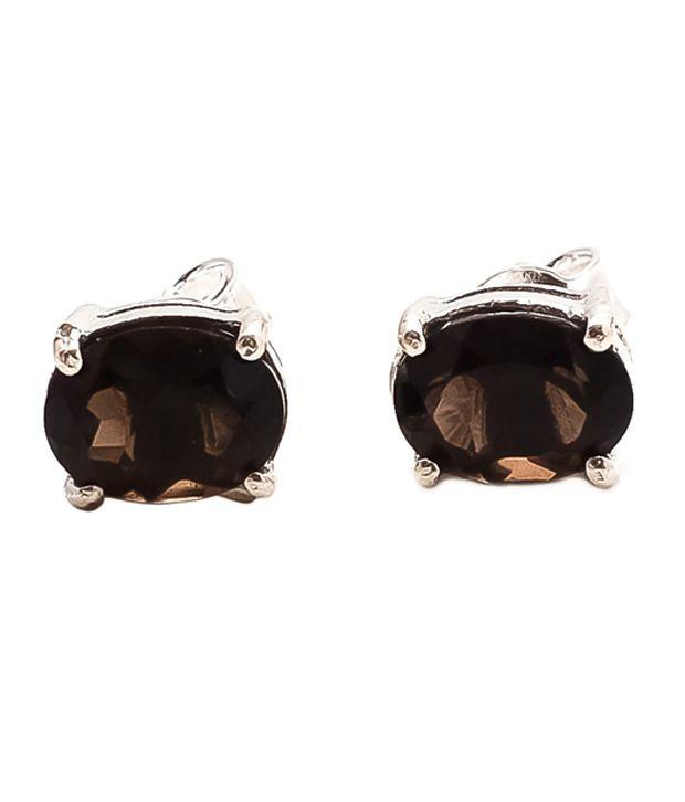 My Silver Shop Brown Party Wear Earrings